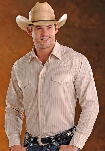 Panhandle Slim Men's Long Sleeve Satin Stripe Snap Western Shirt - Tan (Closeout)