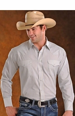 Panhandle Slim Men's Long Sleeve Satin Stripe Snap Western Shirt - Tan/Blue