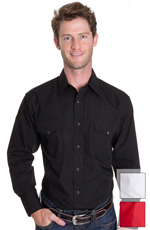 Panhandle Slim Men's Long Sleeve Solid Snap Western Shirt - Black, White or Red