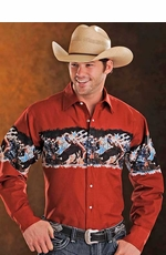 Panhandle Slim Men's Long Sleeve Western Border Print Snap Shirt - Scarlet (Closeout)