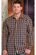 Panhandle Slim Men's Retro Long Sleeve Western Snap Shirt with Embroidery - Dark Grey (Closeout)