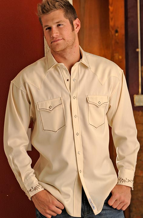 Panhandle Slim Men's Retro Long Sleeve Western Snap Shirt with Embroidery - Natural (Closeout)