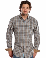Panhandle Slim Men's Rough Stock Long Sleeve Plaid Button Down Shirt - Brown (Closeout)