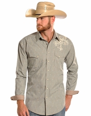 Panhandle Slim Men's Rough Stock Long Sleeve Print Snap Shirt - Grey (Closeout)