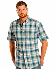 Panhandle Slim Men's Rough Stock Short Sleeve Plaid Button Down Shirt - Turquoise (Closeout)