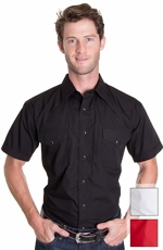 Panhandle Slim Men's Short Sleeve Solid Snap Western Shirt - Black, White or Red