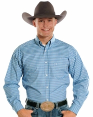 Panhandle Slim Men's Tuf Cooper Long Sleeve Check Button Down Shirt - Blue (Closeout)