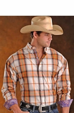 Panhandle Slim Mens Long Sleeve Plaid Button Down Western Shirt - Orange
