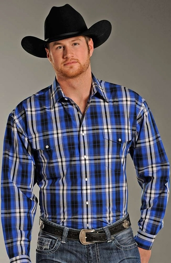 Panhandle Slim Mens Long Sleeve Plaid Snap Western Shirt - Blue