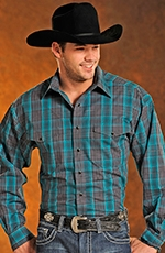 Panhandle Slim Mens Long Sleeve Plaid Snap Western Shirt - Teal (Closeout)