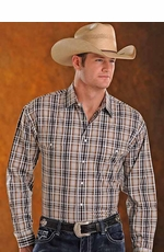 Panhandle Slim Mens Long Sleeve Snap Plaid Western Shirt - Khaki/Black