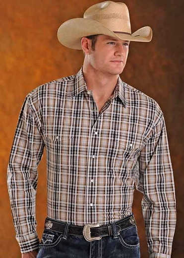Panhandle Slim Mens Long Sleeve Snap Plaid Western Shirt - Khaki/Black (Closeout)