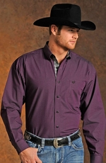 Panhandle Slim Select Mens Long Sleeve Check Button Down Western Shirt - Purple