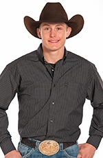 Panhandle Slim Mens Tuff Cooper Long Sleeve Check Button Down Western Shirt - Black