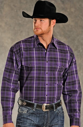 Panhandle Slim Mens Long Sleeve Plaid Button Down Western Shirt - Purple
