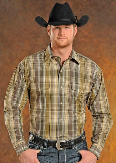 Panhandle Slim Mens Long Sleeve Plaid Snap Western Shirt - Tan (Closeout)