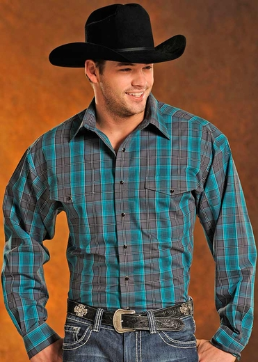Panhandle Slim Mens Long Sleeve Plaid Snap Western Shirt - Teal