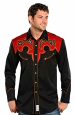 Panhandle Slim Retro Long Sleeve Solid Snap Western Shirt with Contrast Yokes - Black/Red