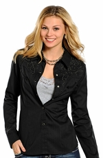 Panhandle Slim Retro Long Sleeve Solid Snap Western Shirt with Embroidery - Black