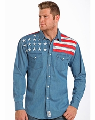 Panhandle Slim Retro Men's Long Sleeve Chambray Flag Snap Shirt