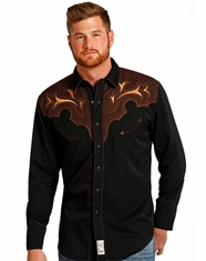 Panhandle Slim Retro Men's Long Sleeve Embroidered Snap Shirt - Black