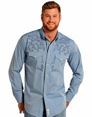 Panhandle Slim Retro Men's Long Sleeve Embroidered Snap Shirt - Blue