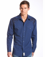 Panhandle Slim Retro Men's Long Sleeve Embroidered Snap Shirt-Navy