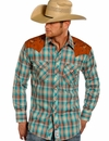 Panhandle Slim Retro Men's Long Sleeve Shirt with Scorpion Shoulders - Turquoise