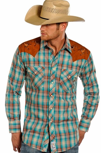 Panhandle Slim Retro Men's Long Sleeve Shirt with Scorpion Shoulders - Turquoise (Closeout)
