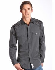 Panhandle Slim Retro Men's Long Sleeve Snap Shirt-Grey (Closeout)