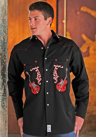 Panhandle Slim Retro Men's Long Sleeve Solid Snap Western Shirt with Guitar Embroidery - Black (Closeout)
