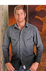 Panhandle Slim Retro Mens Long Sleeve Dip Dyed Western Pearl Snap Shirt - Black/Gray