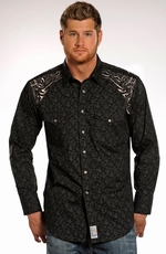 Panhandle Slim Retro Mens Long Sleeve Print Snap Shirt - Black (Closeout)