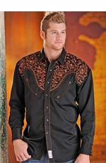 Panhandle Slim Retro Mens Long Sleeve Solid Snap Western Shirt  with Embroidery - Black