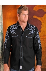 Panhandle Slim Retro Mens Long Sleeve Solid Western Snap Shirt with Embroidery - Black