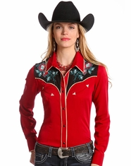 Panhandle Slim Retro Women's Long Sleeve Embroidered Snap Shirt- Red