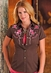 Panhandle Slim Retro Womens Short Sleeve Solid Western Snap Shirt with Embroidery - Brown (Closeout)