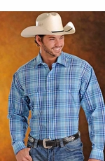 Panhandle Slim Saddlewear Men's Long Sleeve Plaid Snap Western Shirt - Blue (Closeout)