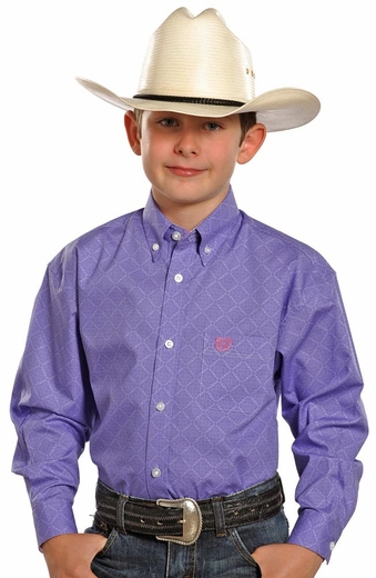 Panhandle Slim Select Boys Long Sleeve Print Shirt - Purple
