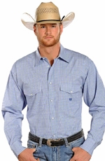 Panhandle Slim Select Long Sleeve Check Button Down Western Shirt - Blue (Closeout)