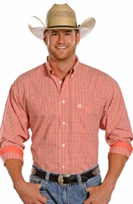 Panhandle Slim Select Long Sleeve Check Button Down Western Shirt - Peach