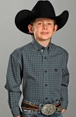 Panhandle Slim Select Boys Long Sleeve Plaid Western Shirt - Blue