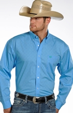 Panhandle Slim Select Mens Long Sleeve Print Button Down Shirt - Blue