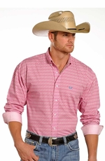 Panhandle Slim Select Mens Long Sleeve Print Button Down Western Shirt - Pink