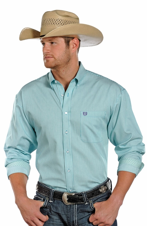 Panhandle Slim Select Men's Long Sleeve Stripe Button Down Shirt - Green (Closeout)