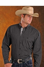 Panhandle Slim Select Mens Long Sleeve Button Down Stripe Western Shirt - Black