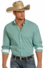 Panhandle Slim Select Mens Long Sleeve Check Button Down Western Shirt - Turquoise