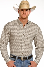 Panhandle Slim Select Mens Long Sleeve Print Button Down Western Shirt - White