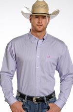 Panhandle Slim Select Mens Long Sleeve Stripe Button Down Western Shirt