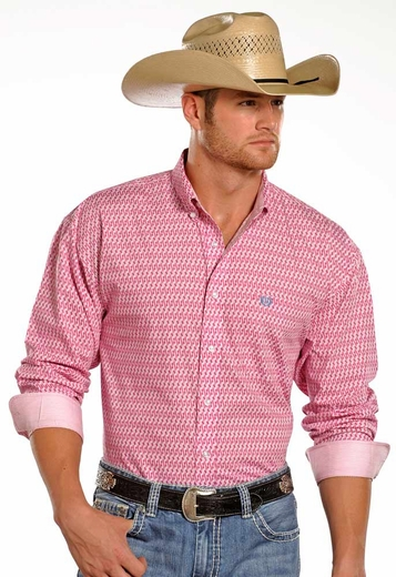 Panhandle Slim Select Mens Long Sleeve Print Button Down Western Shirt - Pink (Closeout)
